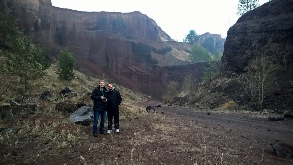 David and Kenneth inside the Racos volcanic canyon