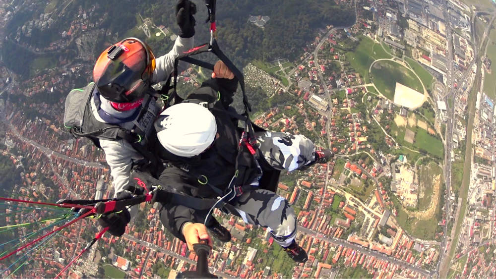 View during a paragliding flight in Brasov, Romania