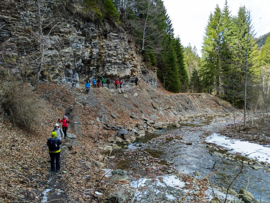 Group of tourists hiking in Tisita Gorge near Tisita river