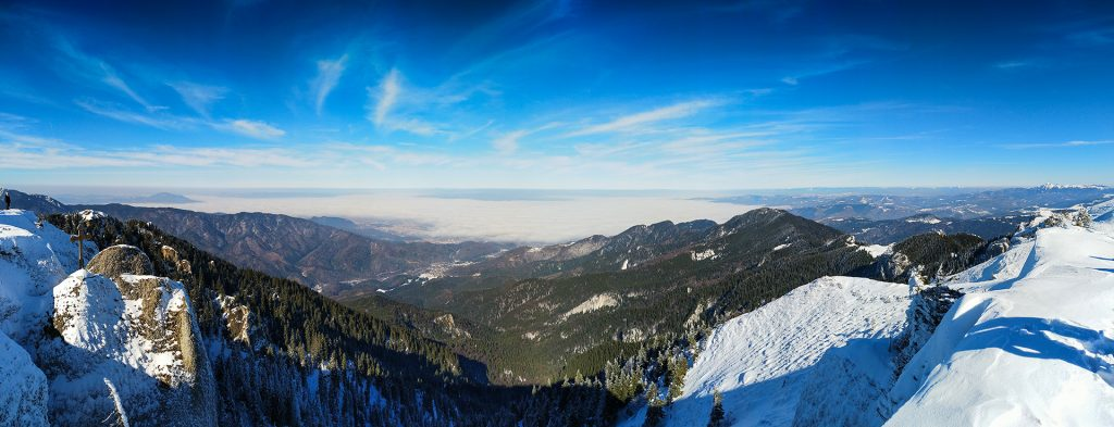 View from the peak of Piatra Mare mountains